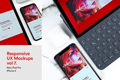 New Responsive Mockups iPad Pro & iPhone X Vol 07 PSD
