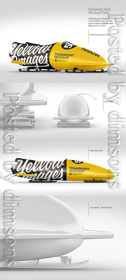 Bobsleigh Sled Mockup Pack TIF