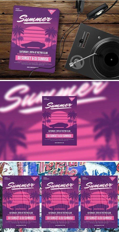 Retro Summer Party PSD