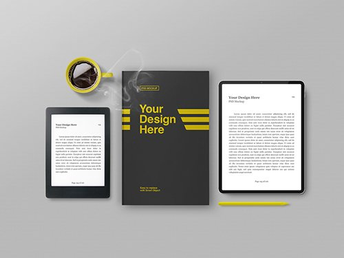 PSDT Ereader, Tablet, and Book Cover with Coffee Cup Mockup 259195343