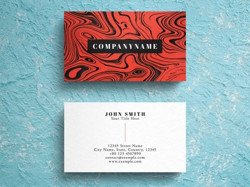 PSDT Red Marble Business Card Layout