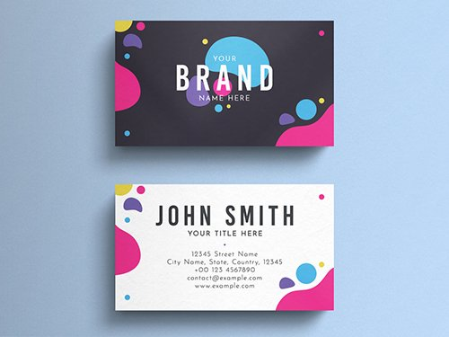 PSDT Colorful Minimal Business Card Layout 260559898
