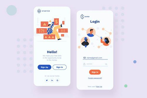Login Mobile Interface Illustrations