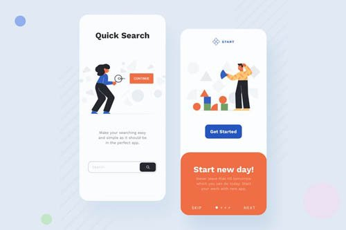 Search Mobile Interface Illustrations