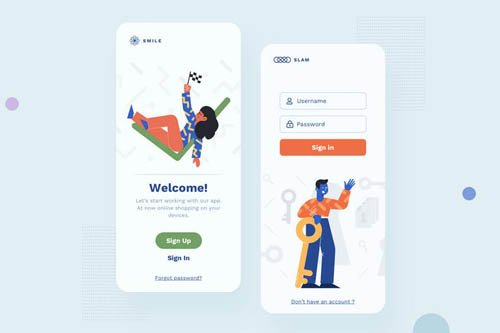 Sign In Mobile Interface Illustrations