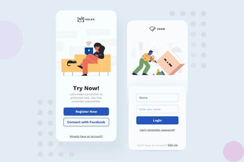 Sign Up Mobile Interface Illustrations