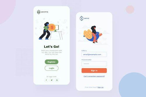 Sign Mobile Interface Illustrations