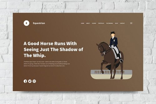 Equestrian Web Header PSD and Vector Template