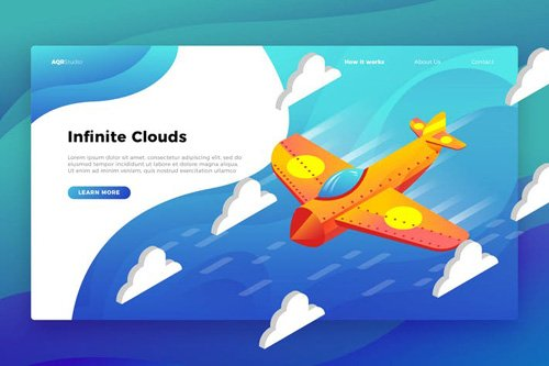Airplane Clouds - Banner & Landing Page