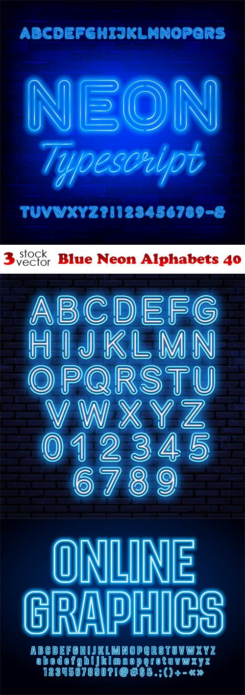 Vectors - Blue Neon Alphabets 40