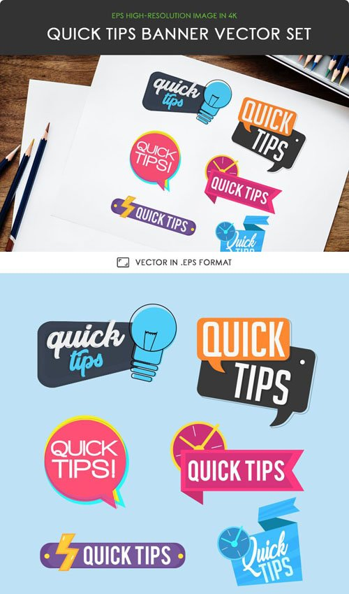 6 Quick Tips Banners Vector Set