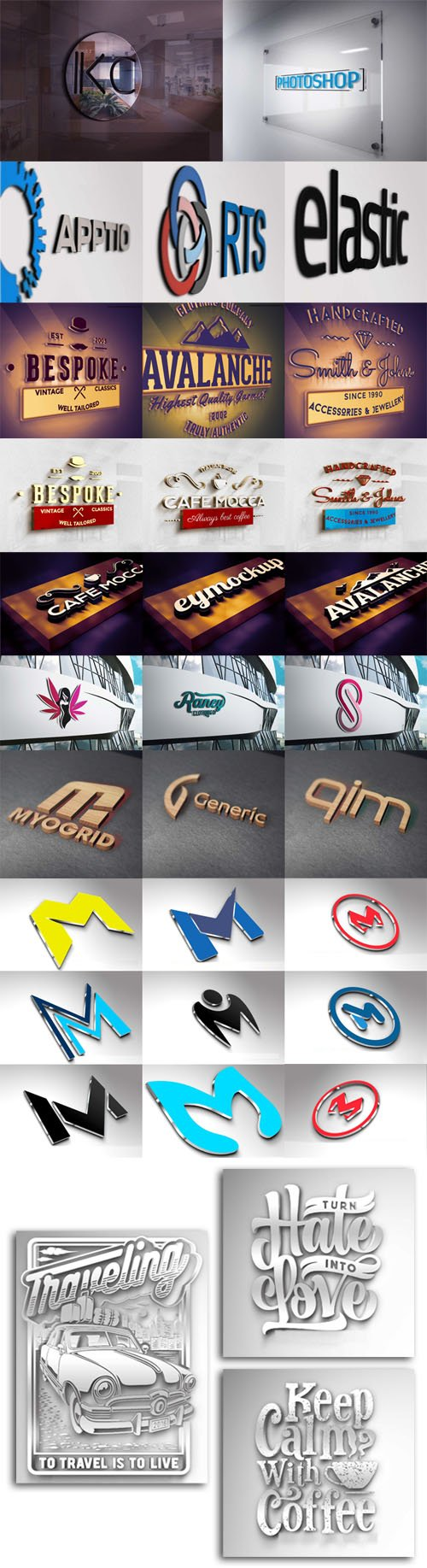 Awesome 3D Logos PSD Mockups Collection