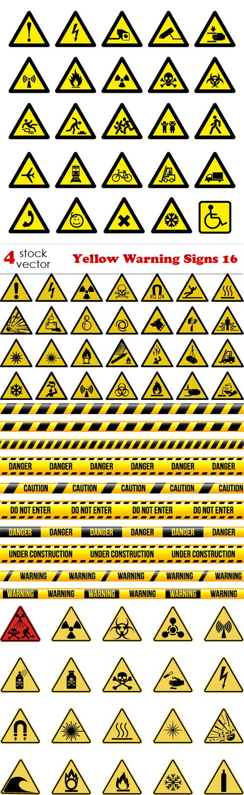 Vectors - Yellow Warning Signs 16
