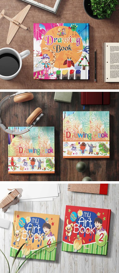 Drawing Book Cover Kids PSD Mockups