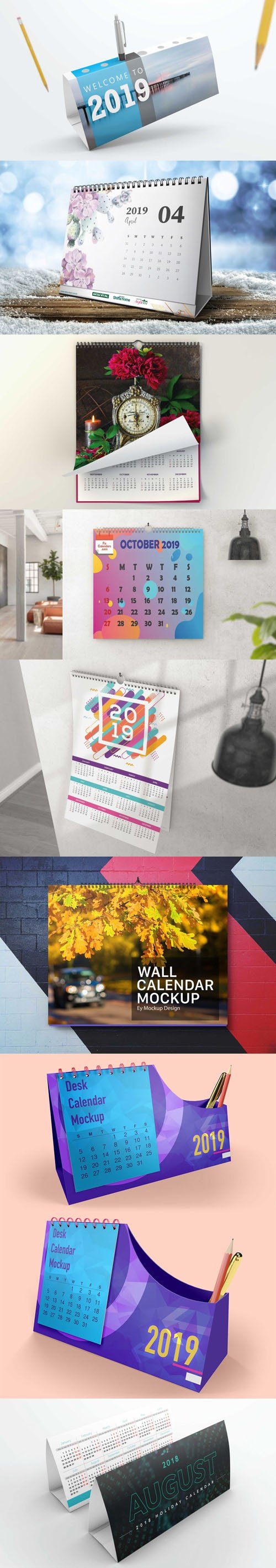 Awesome 2019 Calendar PSD Mockups Collection