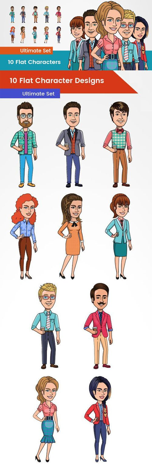 10 HQ Flat Character Designs - Ultimate PSD Set
