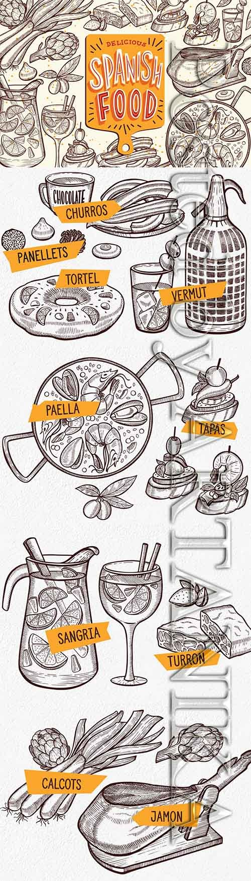 Spanish Food Hand-Drawn Graphic