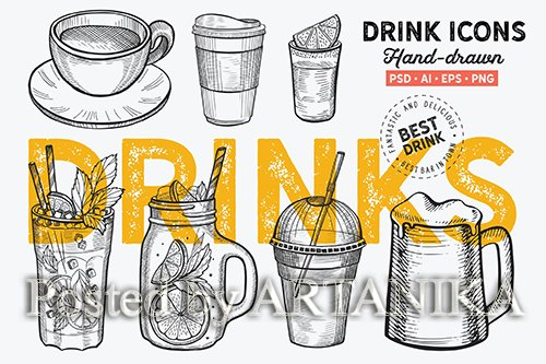 Drinks Hand-Drawn Graphic