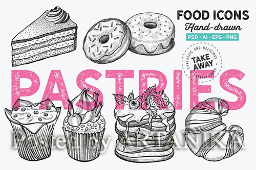 Pastries Dessert Hand-Drawn Graphic