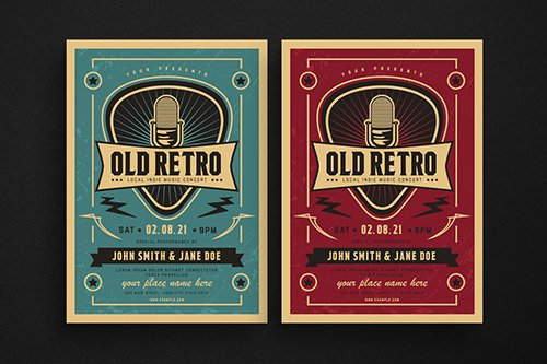 Old Retro Music Flyer PSD