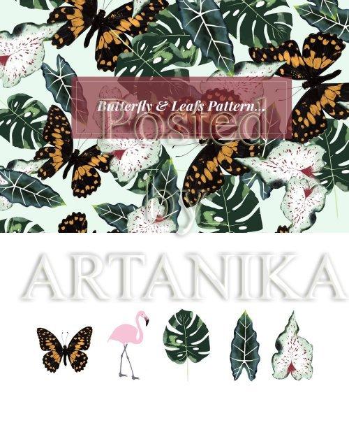 Butterfly & Leafs Pattern