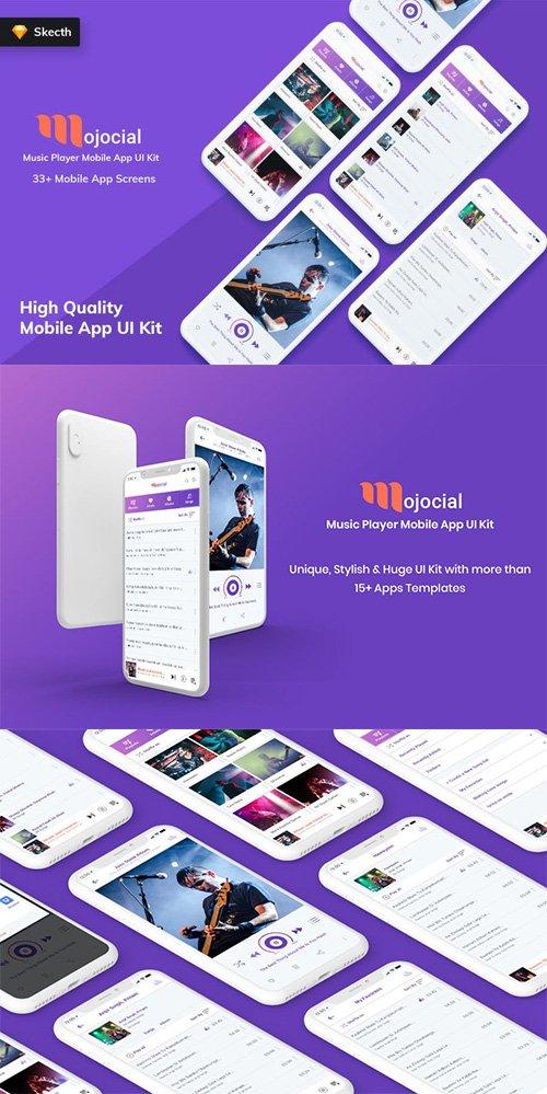 Mojocial - Music Player Mobile App UI Kit (Sketch)