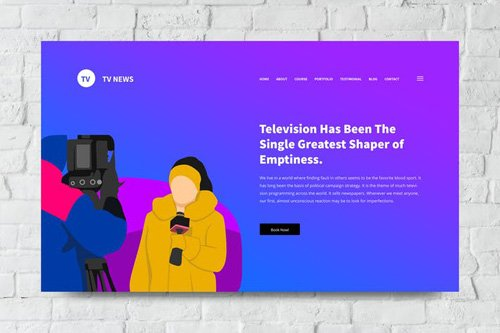 Tv and News Web Header PSD and Vector Template