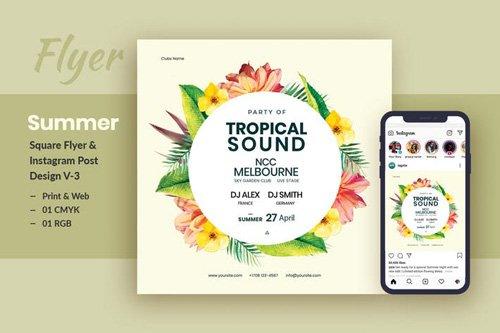 Tropical Sound Flyer & Instagram Post Template V-2