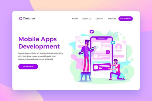 Mobile Apps Development Creative Team Landing Page