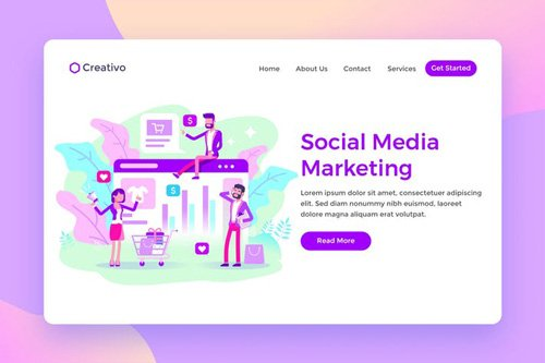 Social Media Marketing Team Ecommerce Landing Page