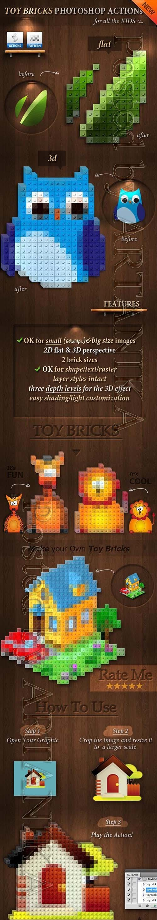 GraphicRiver - 3D Toy Bricks Photoshop Actions 3924994
