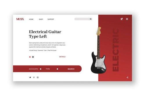 Guitar Music Hero Header PSD Template