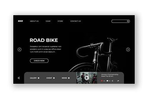 Road Bike Hero Header PSD Template
