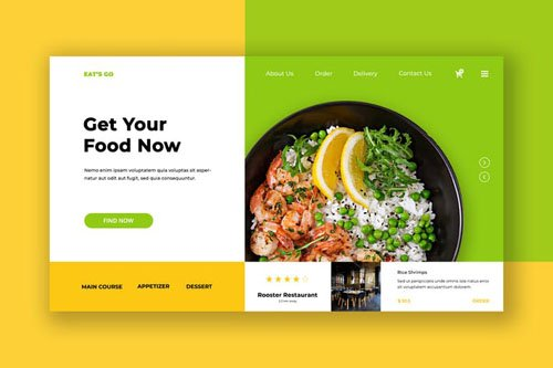 Eat Food Hero Header PSD Template