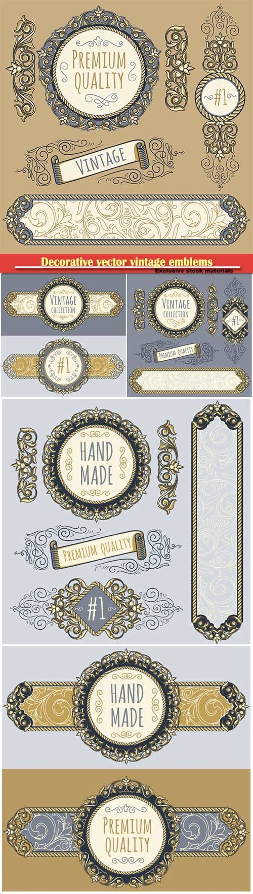 Decorative vector vintage emblems