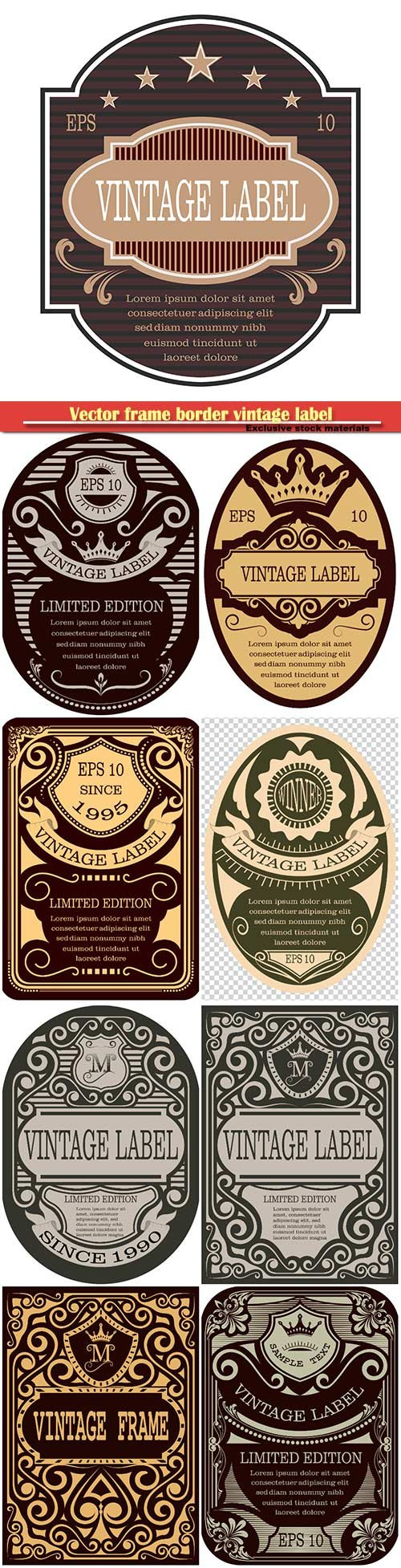 Vector frame border vintage label or poster retro design