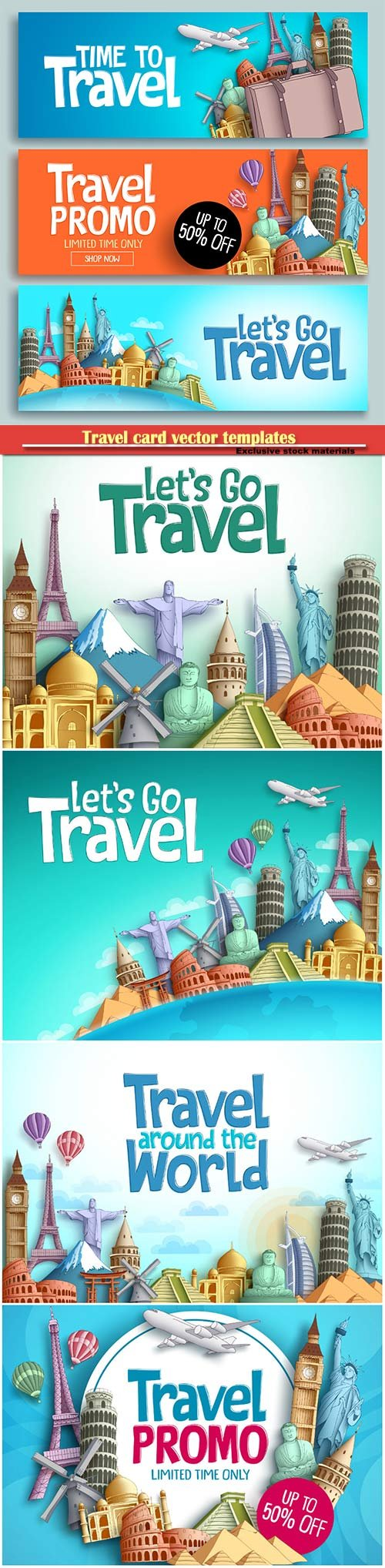 Travel card vector templates