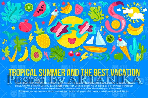 Tropical Summer Vacation Banner