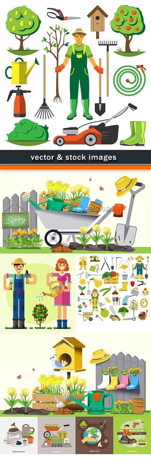 People landing and harvesting working in garden stock