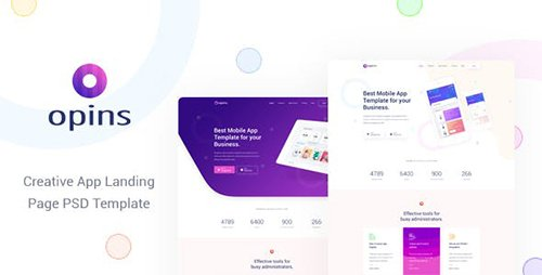 ThemeForest - Opins - Creative App Landing Page PSD Template 23699497