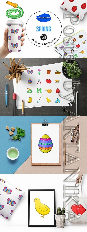 Designbundles - Spring icons set - cartoon style