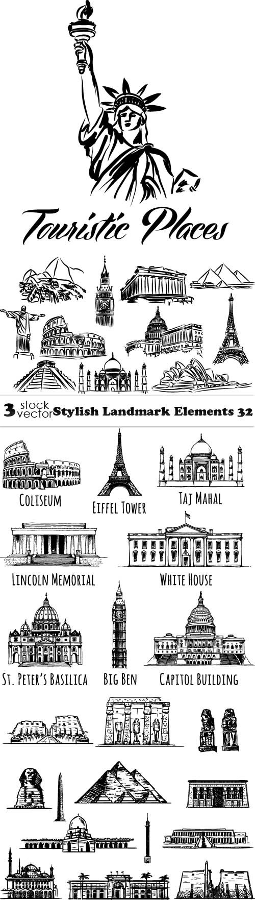 Vectors - Stylish Landmark Elements 32