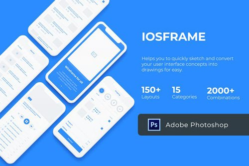 iOS Wireframe Mobile UIT Kit - PSD Version