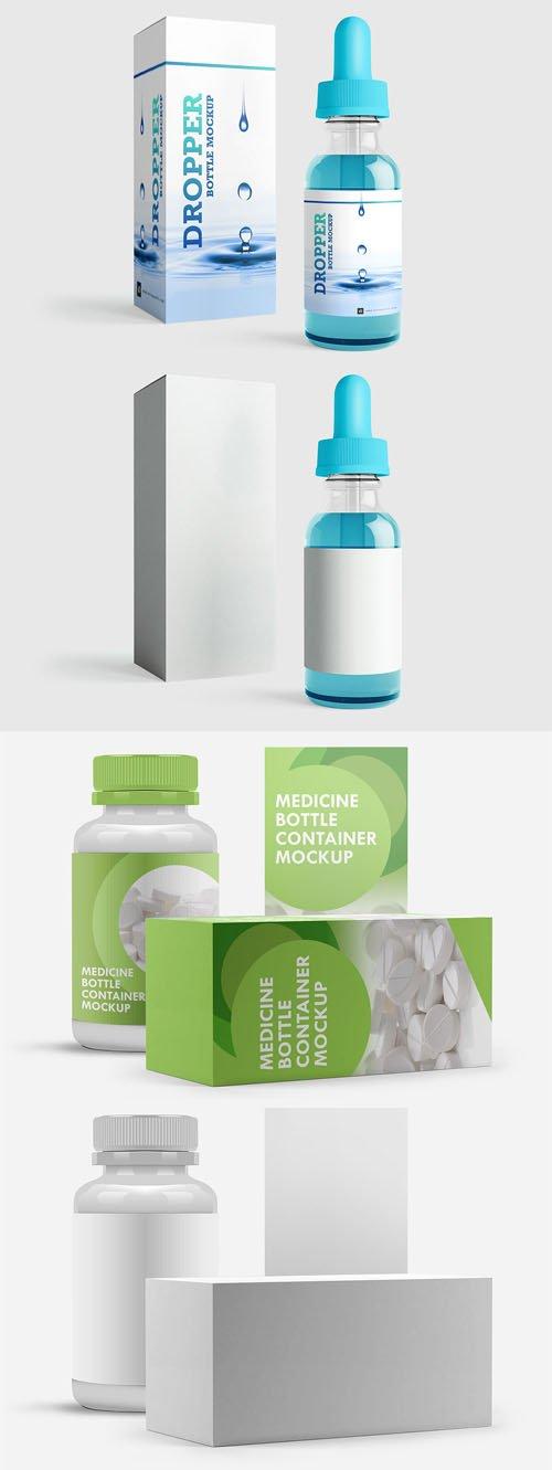 Medicine & Dropper Bottle Container PSD Mockups