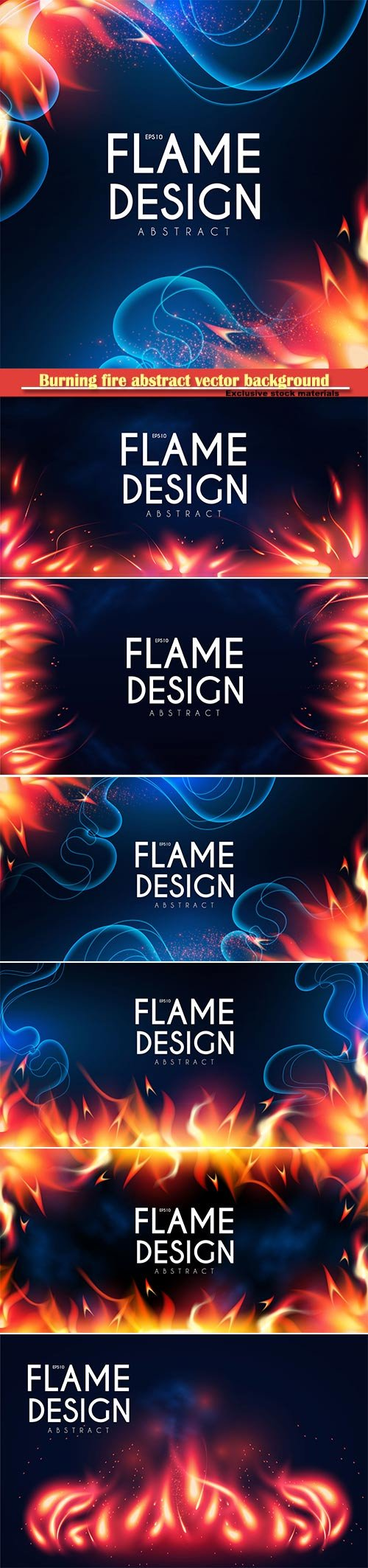 Burning fire abstract vector background, light effect