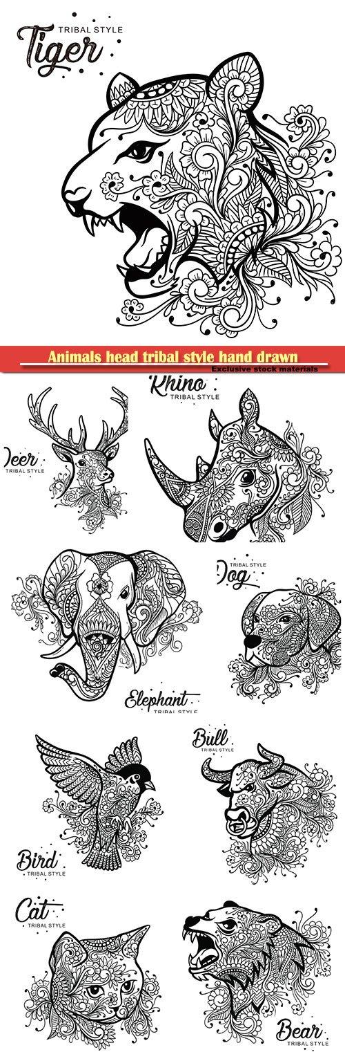 Animals head tribal style hand drawn