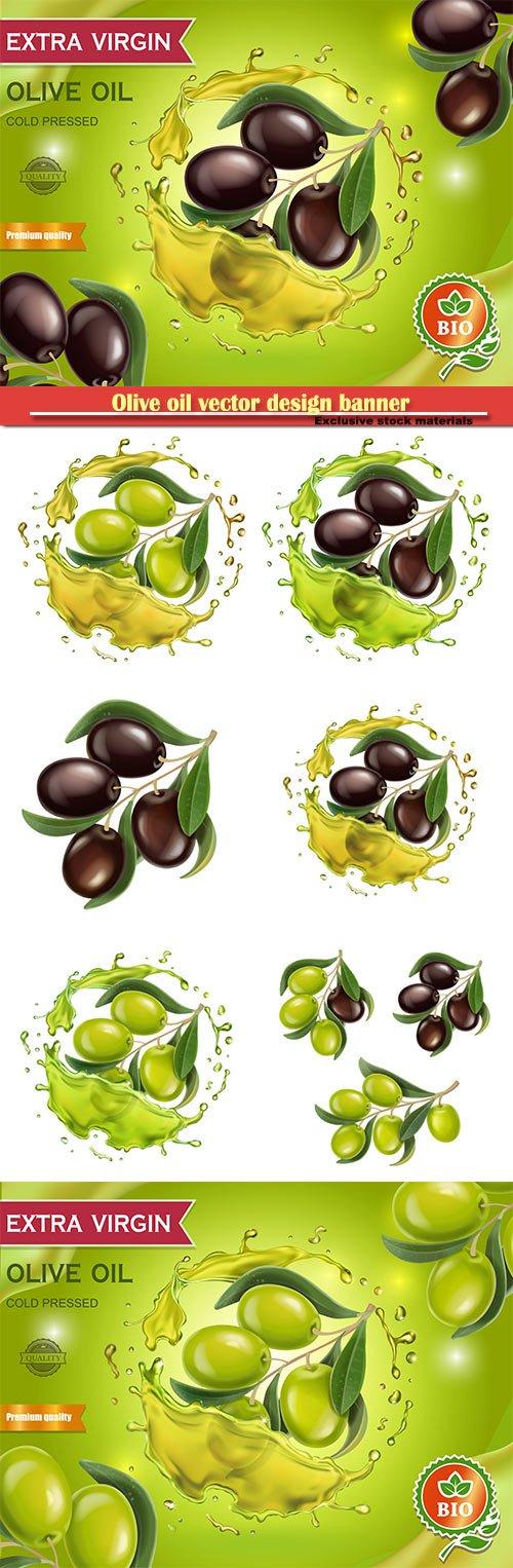 Olive oil vector design banner with olive branch