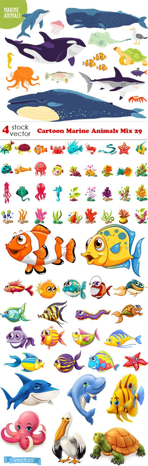 Vectors - Cartoon Marine Animals Mix 29