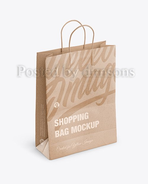 Kraft Matte Shopping Bag with Rope Handle Mockup - Halfside View (High-Angle Shot) 41763 TIF