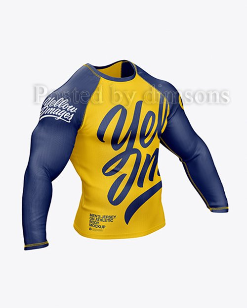 Mens Long Sleeve Jersey on Athletic Body Mockup 41654 TIF